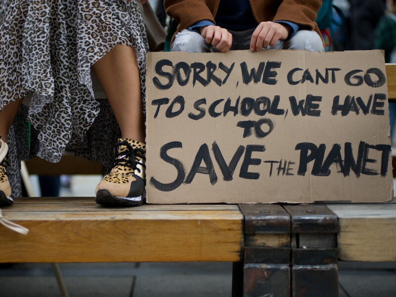 Kids protest climate change in Warsaw, Poland