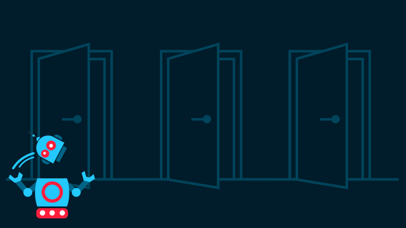 Illustration of a robot juggling its own head in front of three partially open doors for a blog post discussing the pros and cons of coupled, decoupled and headless CMS platforms.
