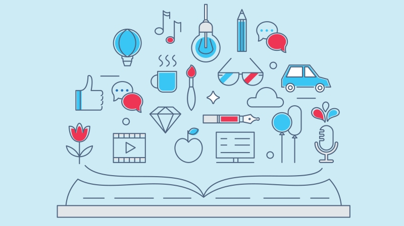 This graphic shows a series of symbols such as a pen, chat bubbles, the Facaebook thumbs up, a microphone and more floating over an open book to illustrate the concept of brand storytelling.