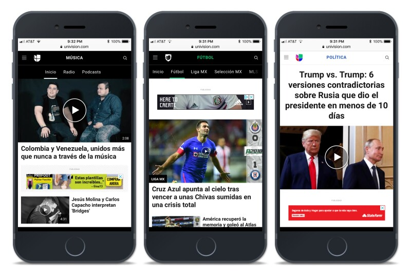 Univision Mobile CMS Example
