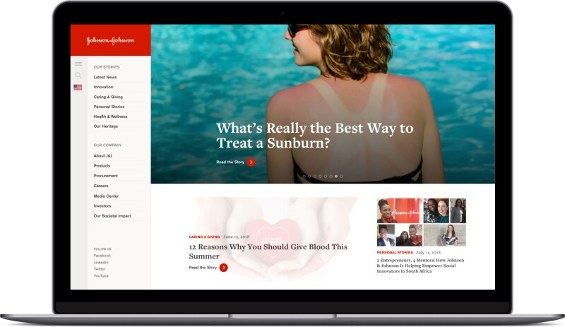 An graphic shows an open laptop with a screen grab from the jnj.com home page featuring a story about treating sunburn