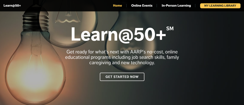 A screengrab from an AARP education site called Learn @50+
