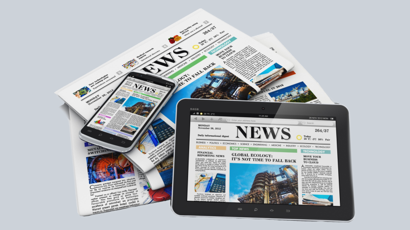 A graphic shows a tablet and smartphone sitting on a pile of newspapers. The devices are also displaying news sites.