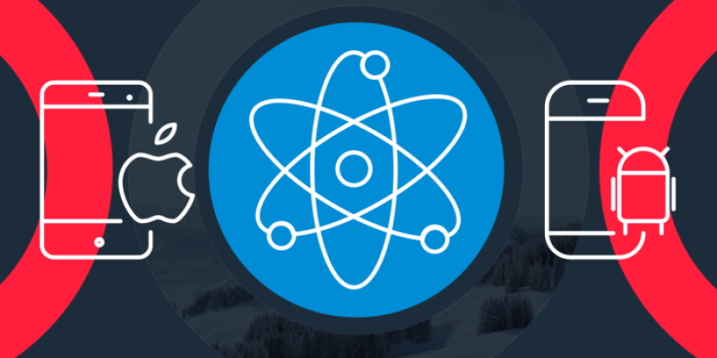 A graphic shows, left to right, an illustration of a smart phone with the Apple logo, an atomic symbol and a React Native app development and a smartphone with the Android logo as a way to illustrate React Native in the mobile space.
