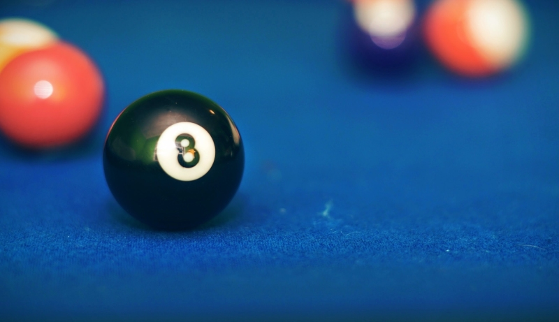 Close-Up Of Pool Balls On Table