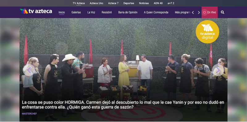 TV Azteca, whose website is shown here, is the second-largest mass media company in Mexico, behind Televisa, another Brightspot customer.