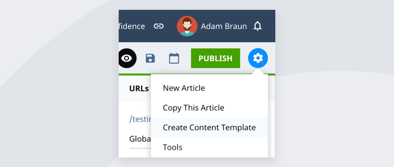 Creating a new content template from Assets