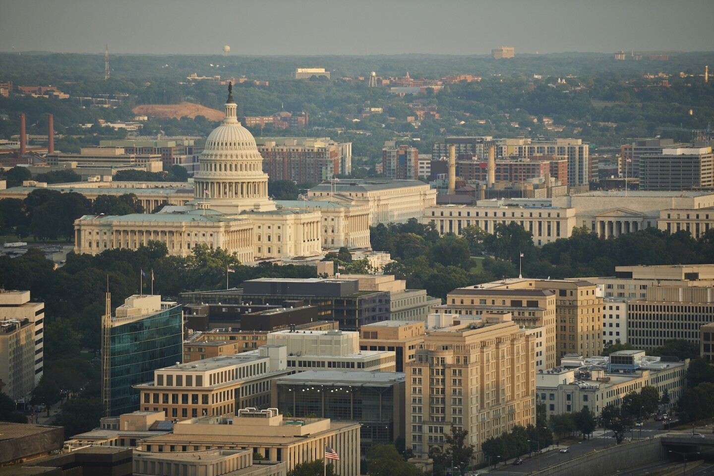 USA, Washington, D.C., Aerial photograph of the United States Capitol and the Federal Triangle